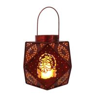 See more information about the Warm White Red Metal Geometric Lantern 20cm