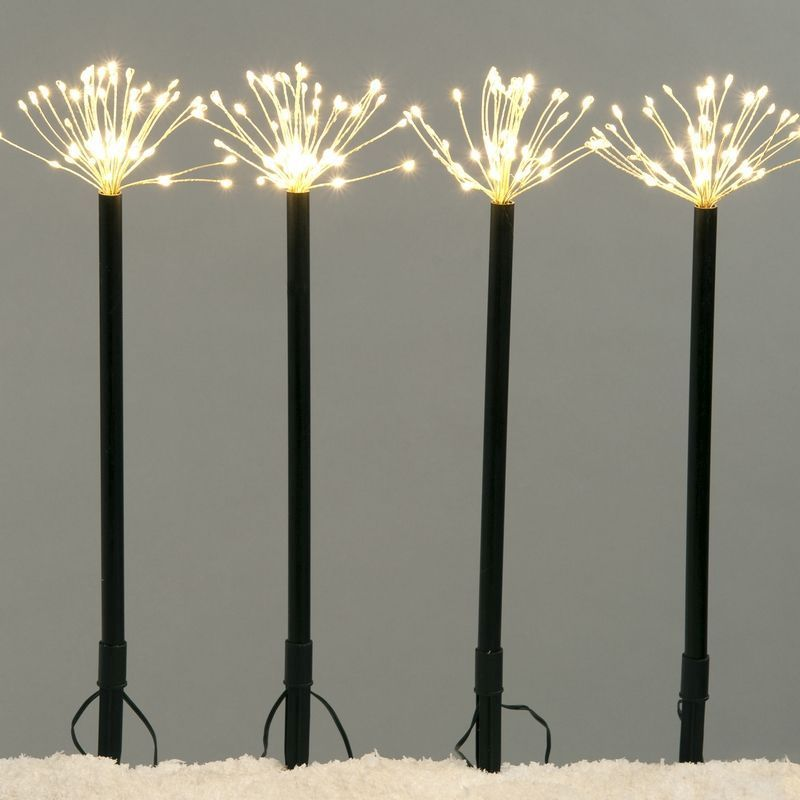 4 Pack Of 240 LED Warm White Starburst Stake Lights