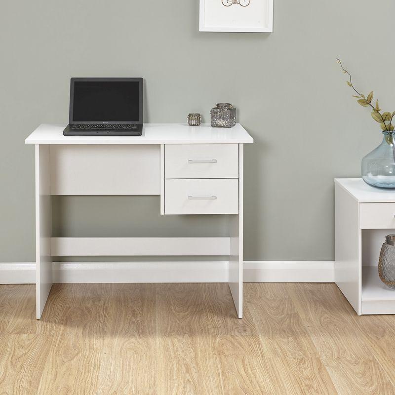 Budget Desk White 2 Drawer