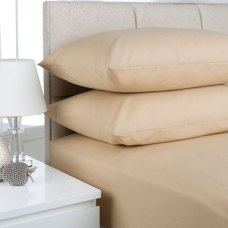 Plain Dyed Single Bed Fitted Sheet Beige