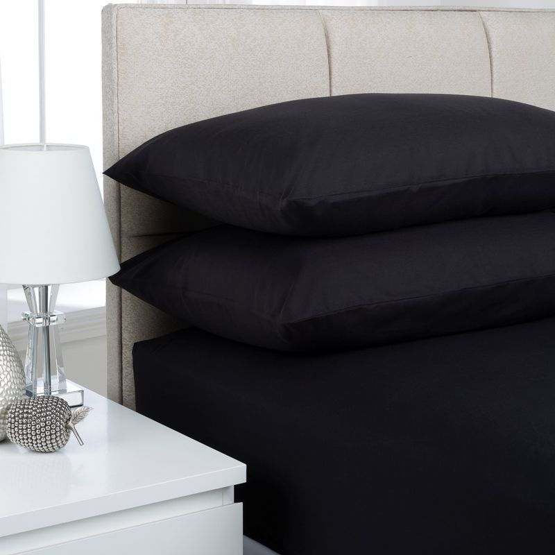 Plain Dyed King Size Fitted Sheet Black