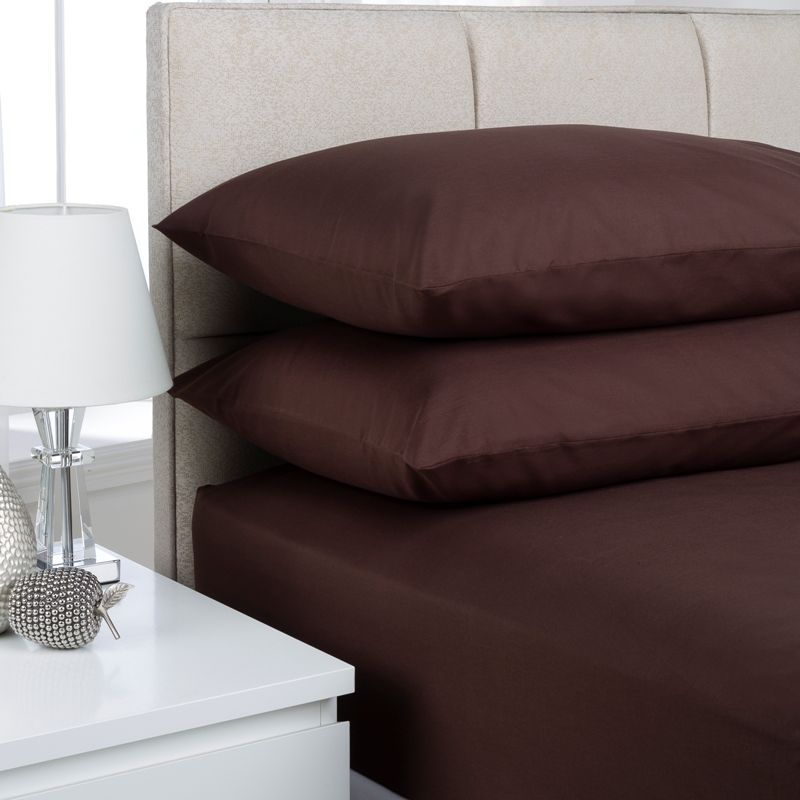Plain Dyed Pair Pillowcases Chocolate