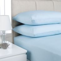 See more information about the Plain Dyed King Size Fitted Sheet  Ice Blue