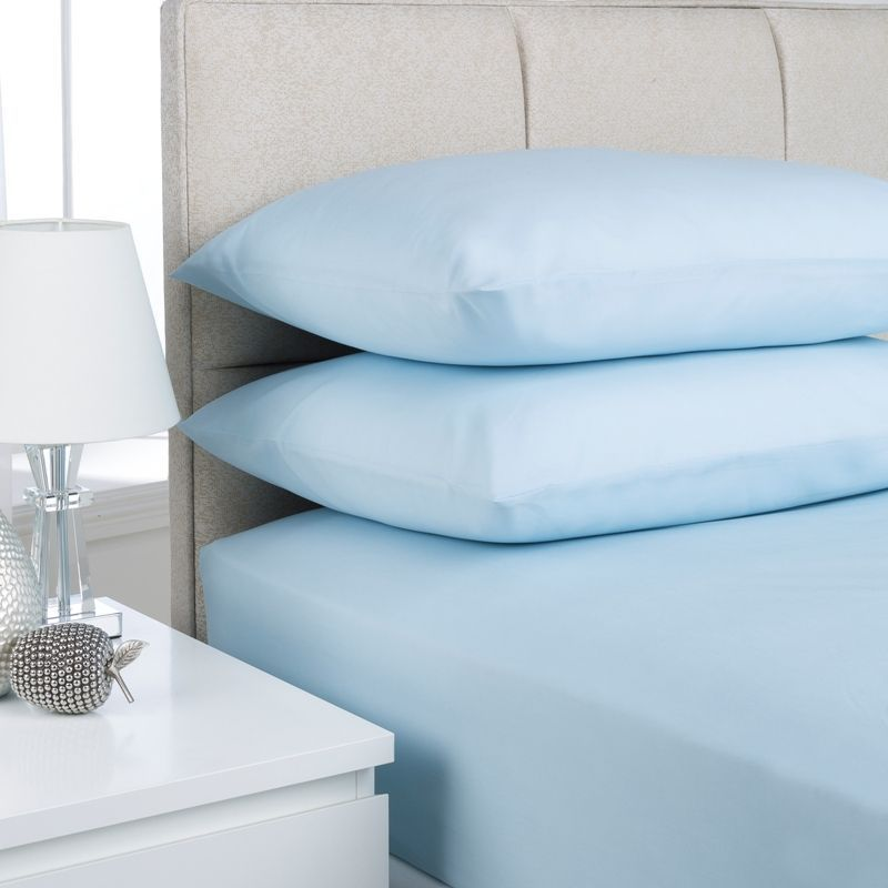 Plain Dyed Single Bed Fitted Sheet Ice Blue
