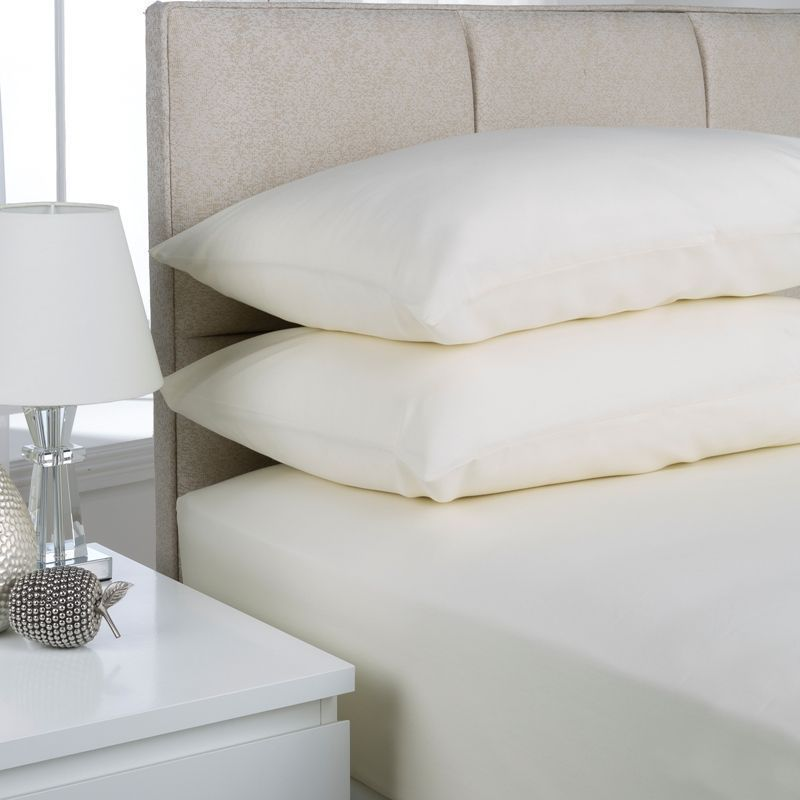 Plain Dyed Double Bed Fitted Sheet Ivory