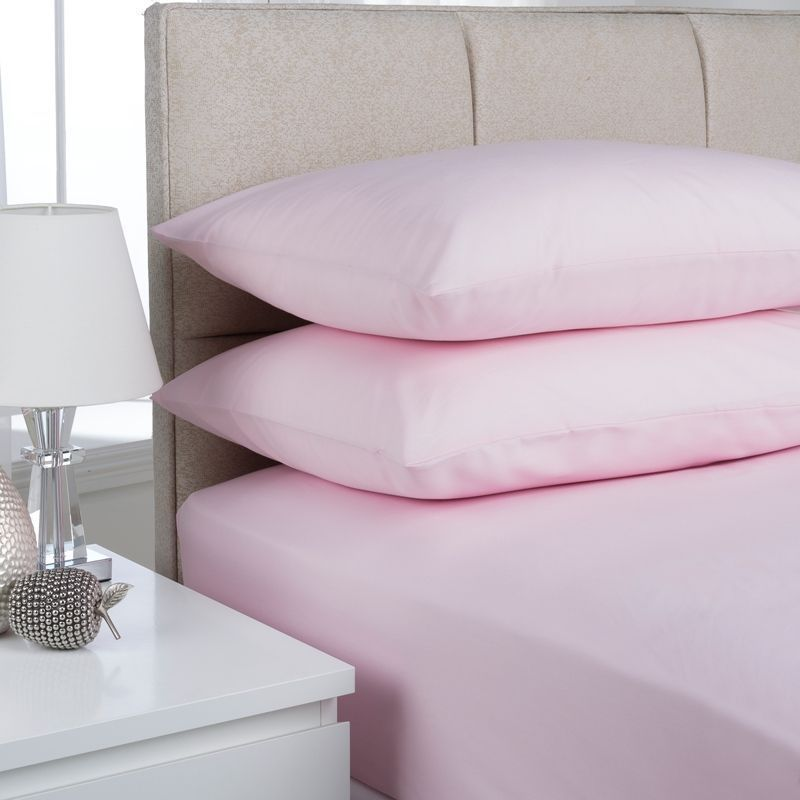 Plain Dyed Double Bed Fitted Sheet Pink