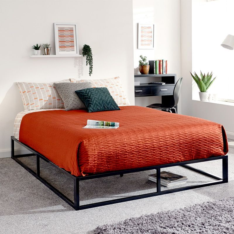Platform Double Bed Black Metal