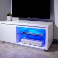 See more information about the Polar TV Unit White 1 Door 2 Shelf LED