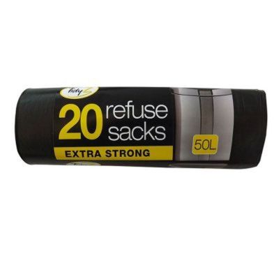 20 Strong Black Refuse Bags On A Roll