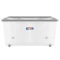 See more information about the 150L Thumbs Up Plastic Wheeled Stacking Storage Clear Box & Silver Lid