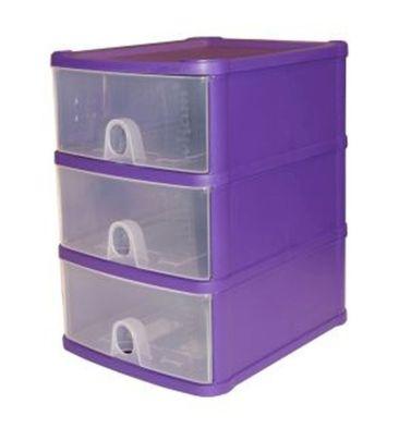 1.4L Premier 3 Drawer Plastic Storage Tower Clear & Purple