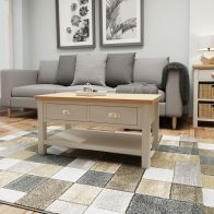See more information about the Westbridge Light Oak & Dove Grey 2 Drawer Coffee Table