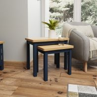 See more information about the Westbridge Light Oak & Blue Nest Of 2 Tables
