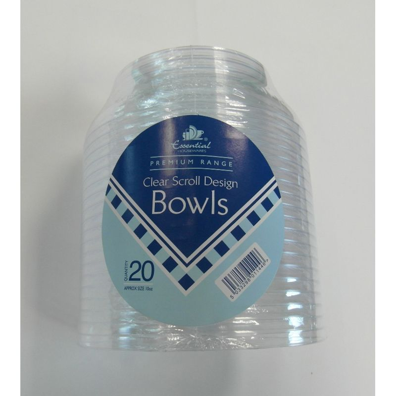 Essential Round Scroll Design Bowl Clear Plastic 10 oz (20 Pack)