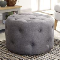 See more information about the Rotunda 60cm Circular Charcoal Grey Buttoned Pouffe Stool