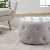 See more information about the Rotunda 60cm Circular Light Grey Hopsack Fabric Buttoned Pouffe Stool