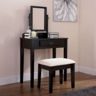 See more information about the Shaker Pine, MDF Black Mirror Dressing Table & Stool Set