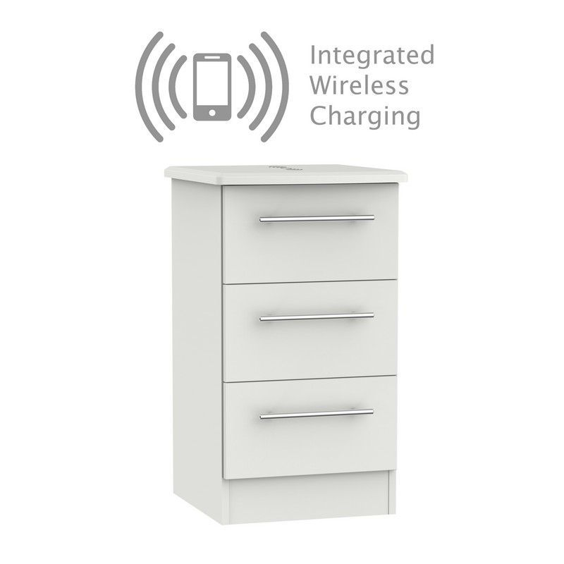 Colby Bedside Grey 3 Drawers With Wireless Charging