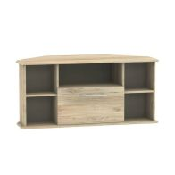 See more information about the Colby Corner TV Unit 5 Shelf 1 Drawer Bordeux Oak Style