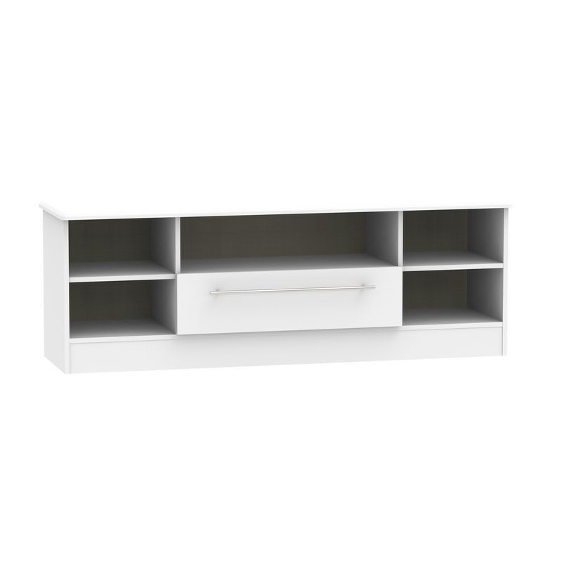 Colby Wide TV Unit White 5 Shelf 1 Drawer