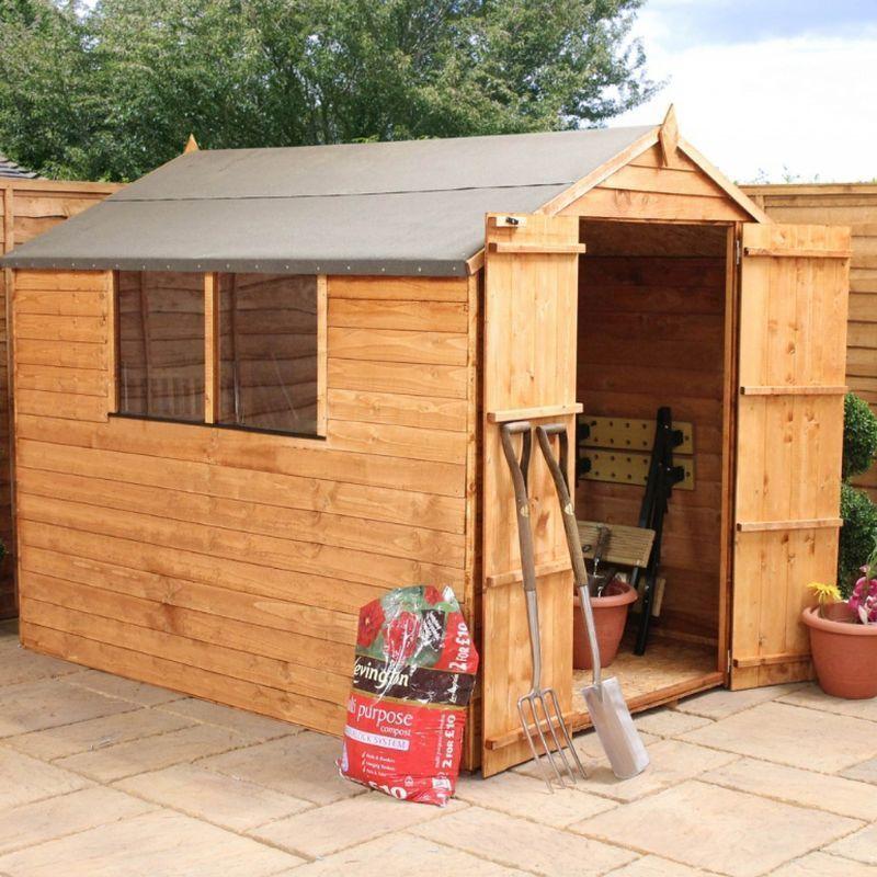 Mercia overlap apex garden shed double door 8 39 x 6 for Apex garden sheds