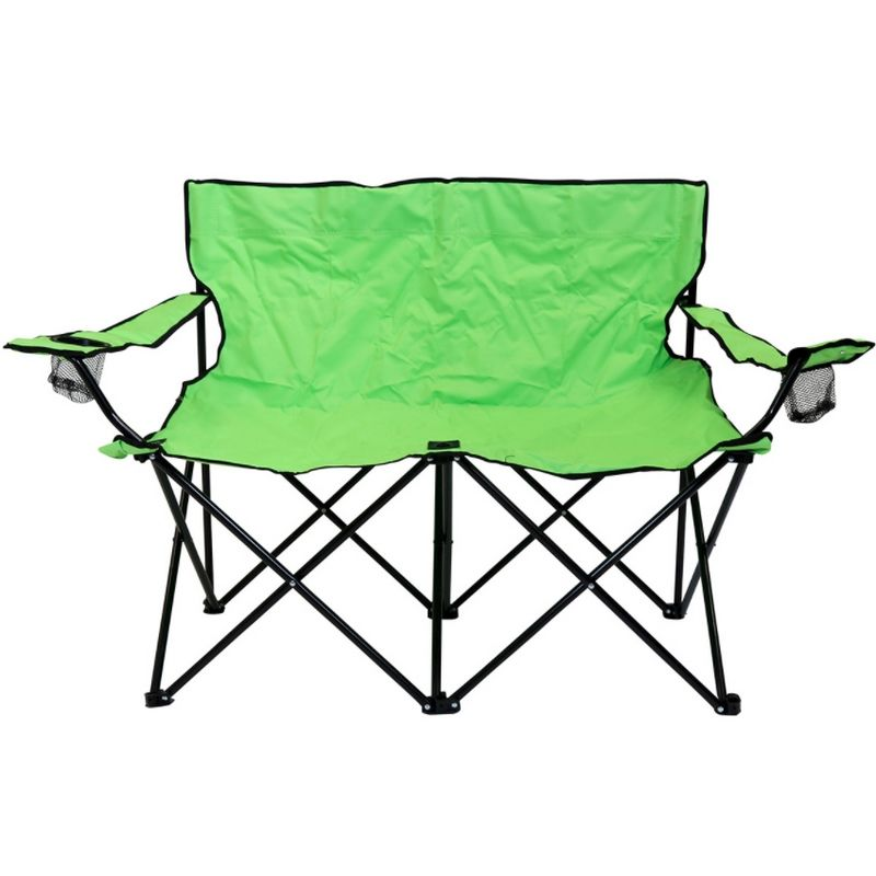 Double Folding Camping Chair Love Seat Sofa Travel Chair