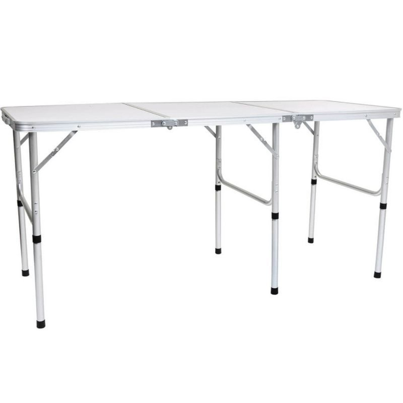 Folding Lightweight Camping Triple Picnic Table L150cm - White