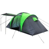 See more information about the 4 Man Camping Festival Tunnel Tent 2 Rooms & Awning - Grey
