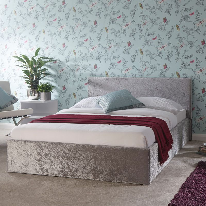 Tremendous Winston Side Lift Small Double Ottoman Bed Grey Crushed Velvet Ibusinesslaw Wood Chair Design Ideas Ibusinesslaworg