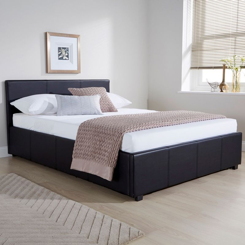 Winston Side Lift Double Ottoman Bed Black Faux Leather