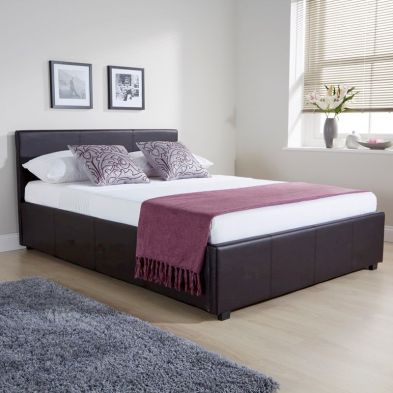 Brown Faux Leather Side Lift Ottoman Double 4ft 6in Bed Frame