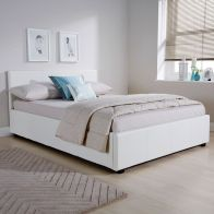 See more information about the Faux Leather 4ft Queen Size White Ottoman Bed Frame