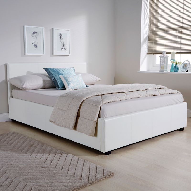 Winston Side Lift King Size Ottoman Bed White Faux Leather