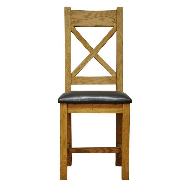Montacute Cross Back Dining Chair Oak With Faux Leather Seat