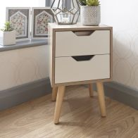 See more information about the Stockholm Bedside White 2 Drawers Oak Style