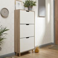 See more information about the Stockholm Shoe Storage White 3 Door Oak Style