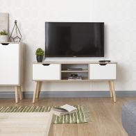 See more information about the Stockholm TV Unit White 2 Door 2 Shelf Oak Style