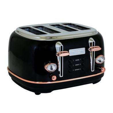 Image of Bentley 4 Slice Toaster Black & Rose Gold