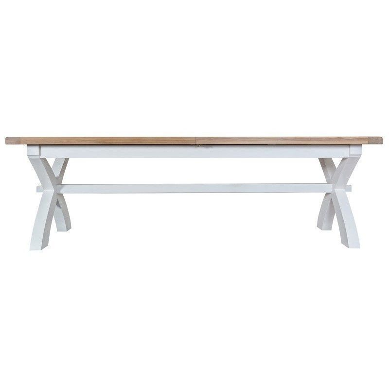 Lighthouse Oak Top 2.5m Cross Extending Table - White