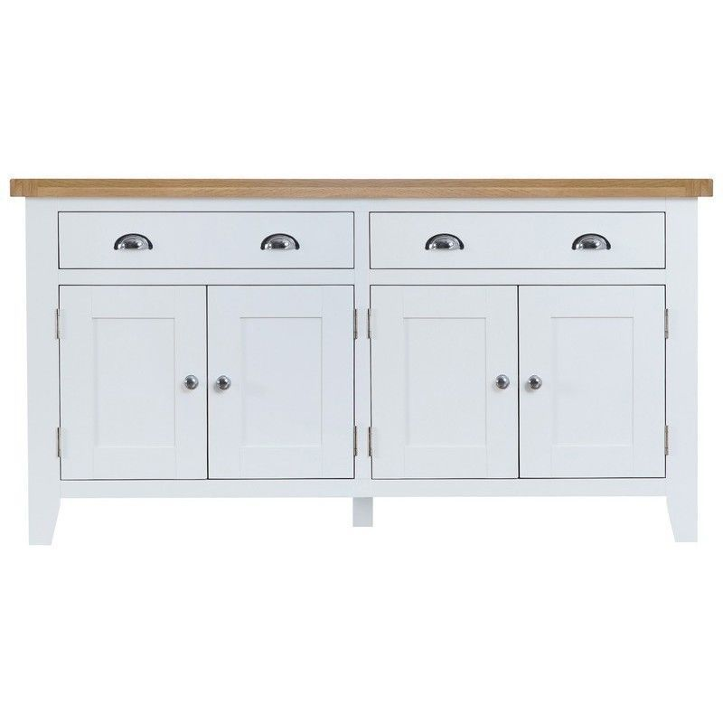 Lighthouse Oak Top 4 Door 2 Drawer Sideboard - White