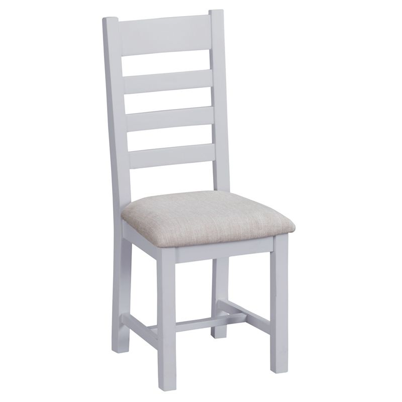 Lighthouse Ladder Back Dining Chair Grey & Oak With Fabric Seat