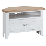 See more information about the Lighthouse Corner TV Unit Oak & White 2 Door 1 Shelf