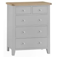 See more information about the Lighthouse Grey & Oak Large Chest Of 5 Drawers