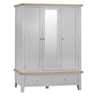 See more information about the Lighthouse Large Wardrobe Grey & Oak 3 Door 2 Drawer With Mirror
