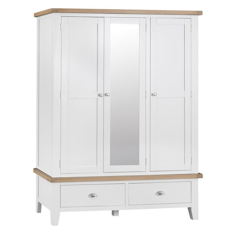 Lighthouse Large Wardrobe Oak & White 3 Door 2 Drawer With Mirror
