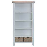 See more information about the Lighthouse Large Bookcase Grey & Oak 4 Shelf 2 Drawer