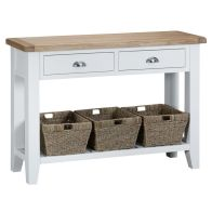 See more information about the Lighthouse Console Table Oak & White 1 Shelf 2 Drawer
