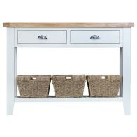 See more information about the Lighthouse Oak Top Large 2 Drawer Console Table - White