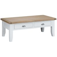See more information about the Lighthouse Oak Top 2 Drawer Large Coffee Table White