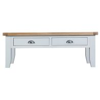 See more information about the Lighthouse Oak Top Large 2 Drawer Coffee Table - White